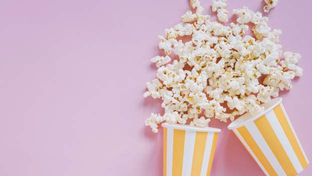 popcorn on pink background